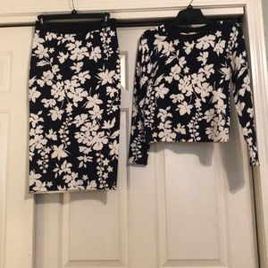 MICHAEL KORS floral knit skirt and sweater set